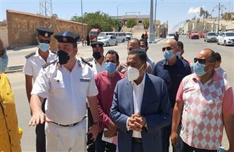 محافظ مطروح: إزالة ميدان بشارع الإسكندرية للحد من حوادث السيارات | صور