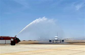 وصول أول طائرة  لشركة مصر للطيران إلى مطار برنيس الدولي   صور