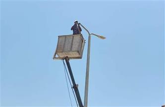 استكمال صيانة أعمدة الإضاءة الزخرفية بمحيط حديقة ميدان سعد زغلول بالإسكندرية