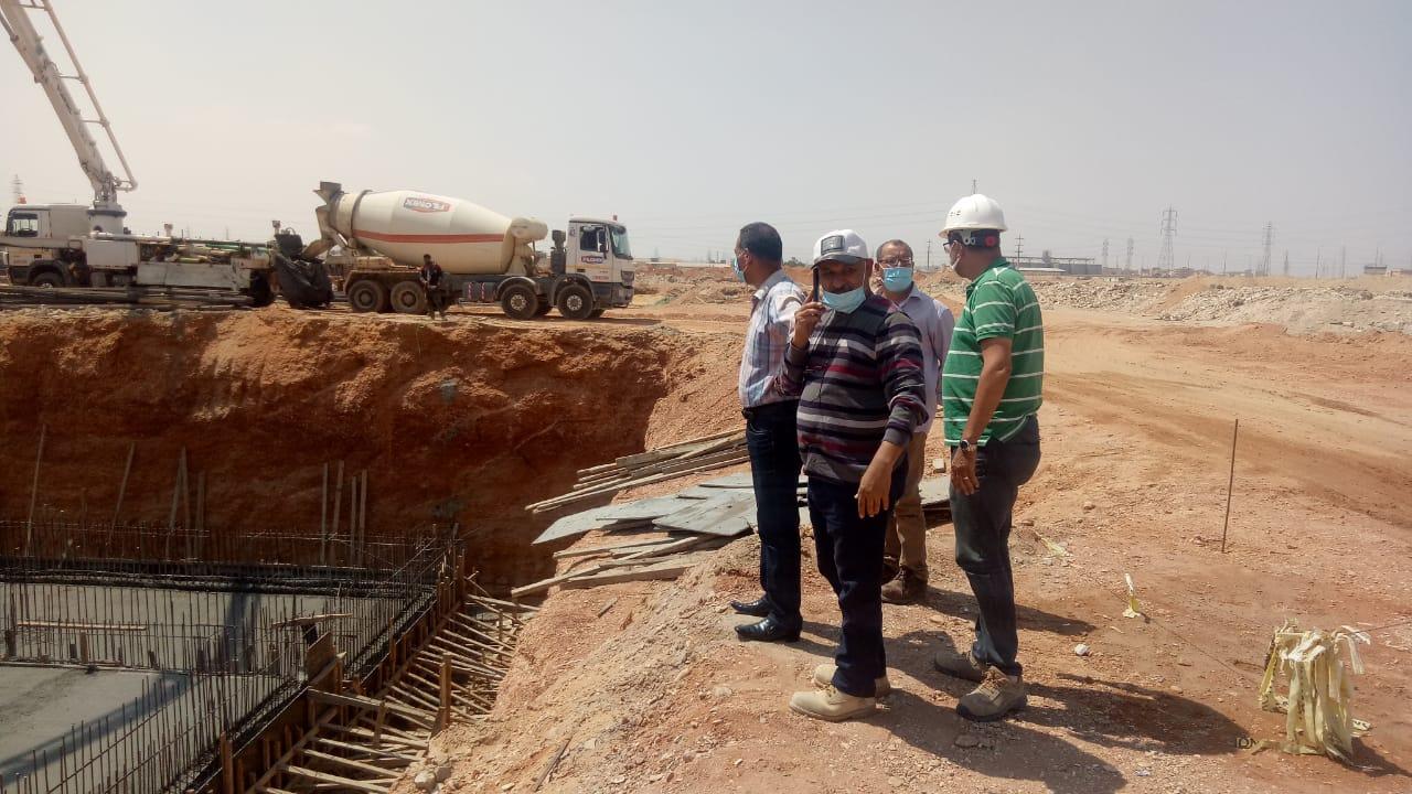 أعمال صب الخرسانة المسلحة لعنبر الطلمبات بمحطة المياه بمدينة بدر