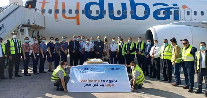 مطار سوهاج الدولى يستقبل اولى رحلات فلاى دبى