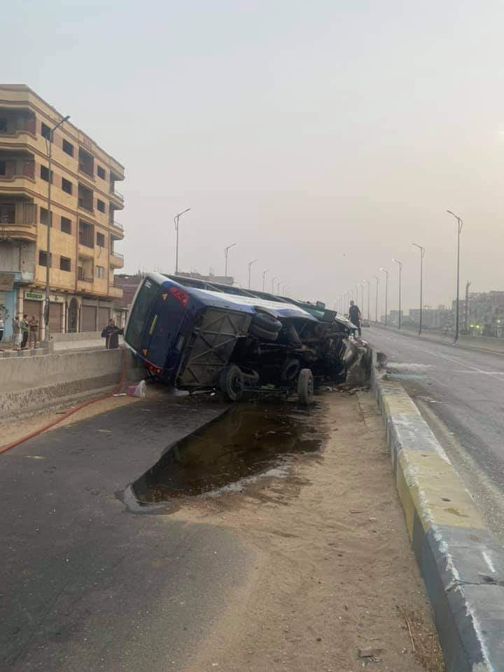 حادث انقلاب أتوبيس مدرسي في ميت غمر
