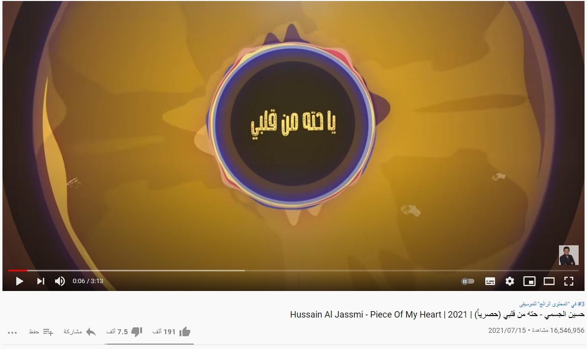 16 مليون و500 ألف مشاهدة لأغنية  حتة من قلبي  لحسين الجسمي في 16 يوم