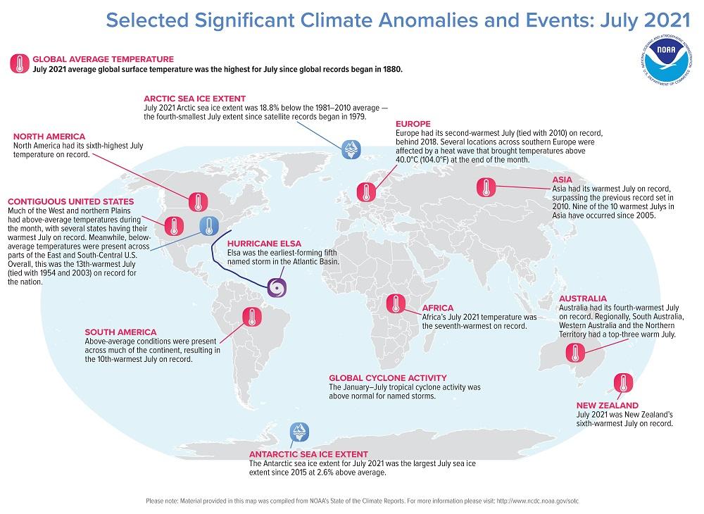 خريطة للعالم مع بعض أهم الأحداث المناخية التي حدثت خلال يوليو 2021