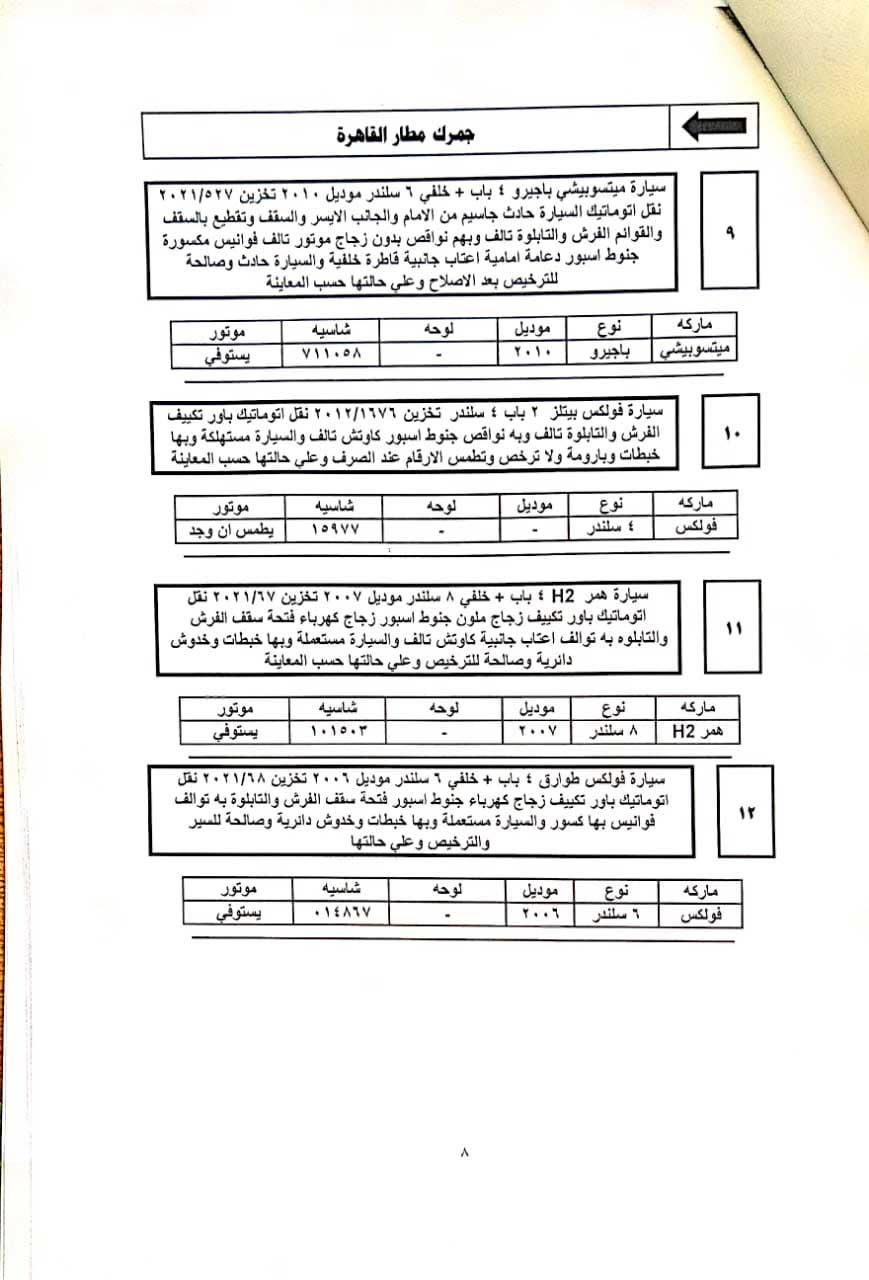 جلسة مزاد السيارات المخزنة بساحة جمارك مطار القاهرة