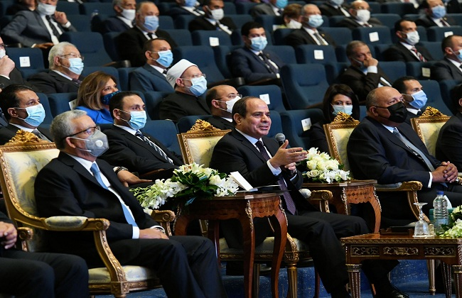 الرئيس عبد الفتاح السيسي خلال احتفال إطلاق الاستراتيجية الوطنية لحقوق الإنسان