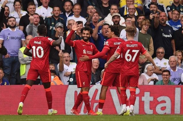 ليفربول يفوز على ليدز بثلاثية ومحمد صلاح يدخل نادي المائة بالدوري الإنجليزي | صور