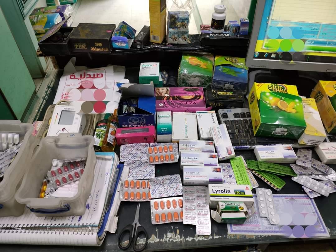 ضبط كمية من الأدوية مجهولة المصدر بصيدليات في جرجا | صور