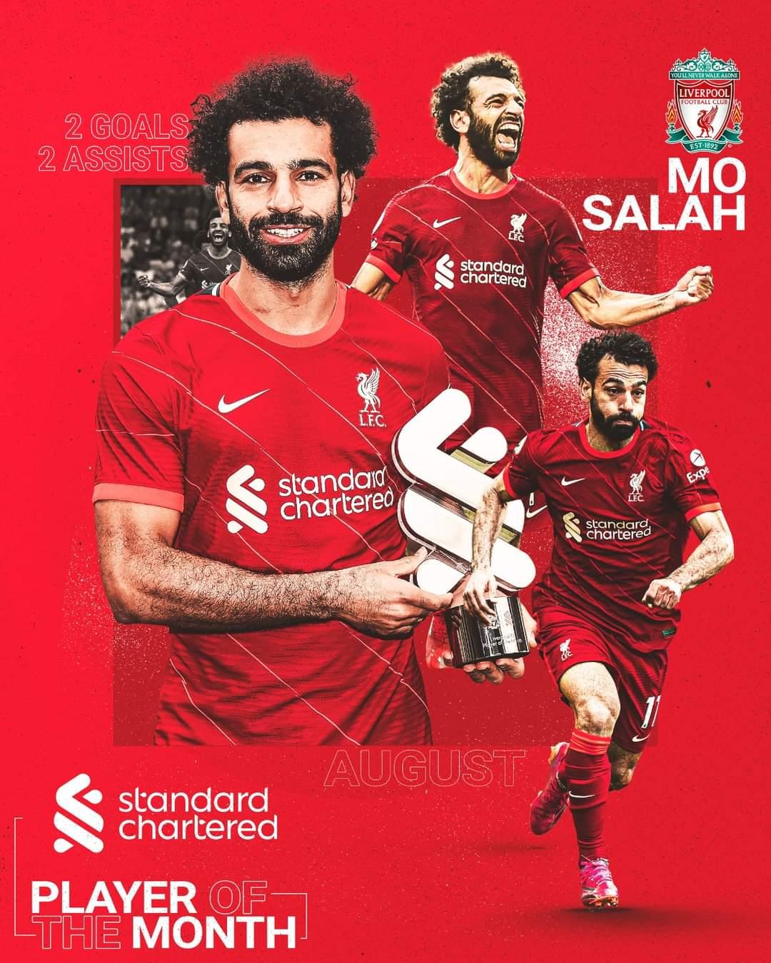 محمد صلاح يفوز بجائزة شهر أغسطس في ليفربول