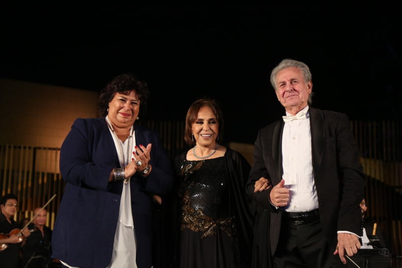 وزيرة الثقافة مع الفنانة عفاف راضي والمايسترو سليم سحاب