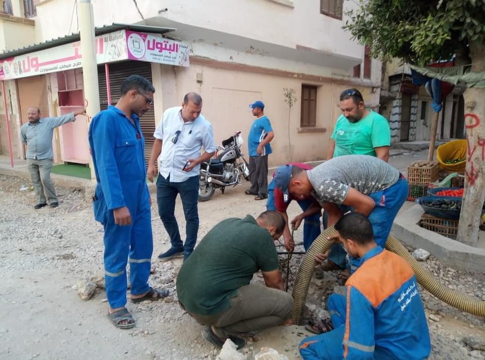رفع كفاءة خطوط الصرف الصحي في كفر الشيخ