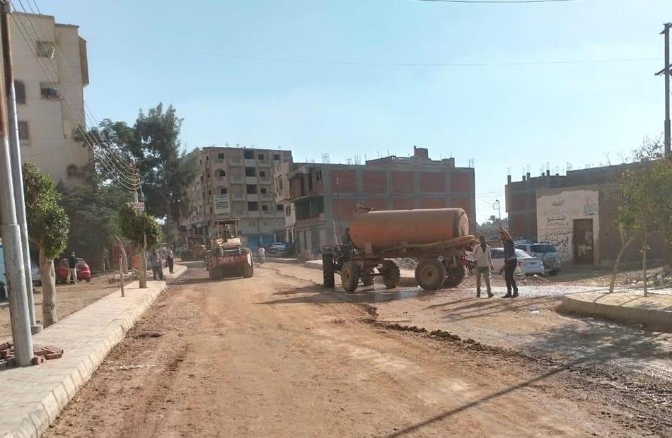 توصيل الغاز  ورصف شارع الصباحي بمدينة قويسنا بالمنوفية