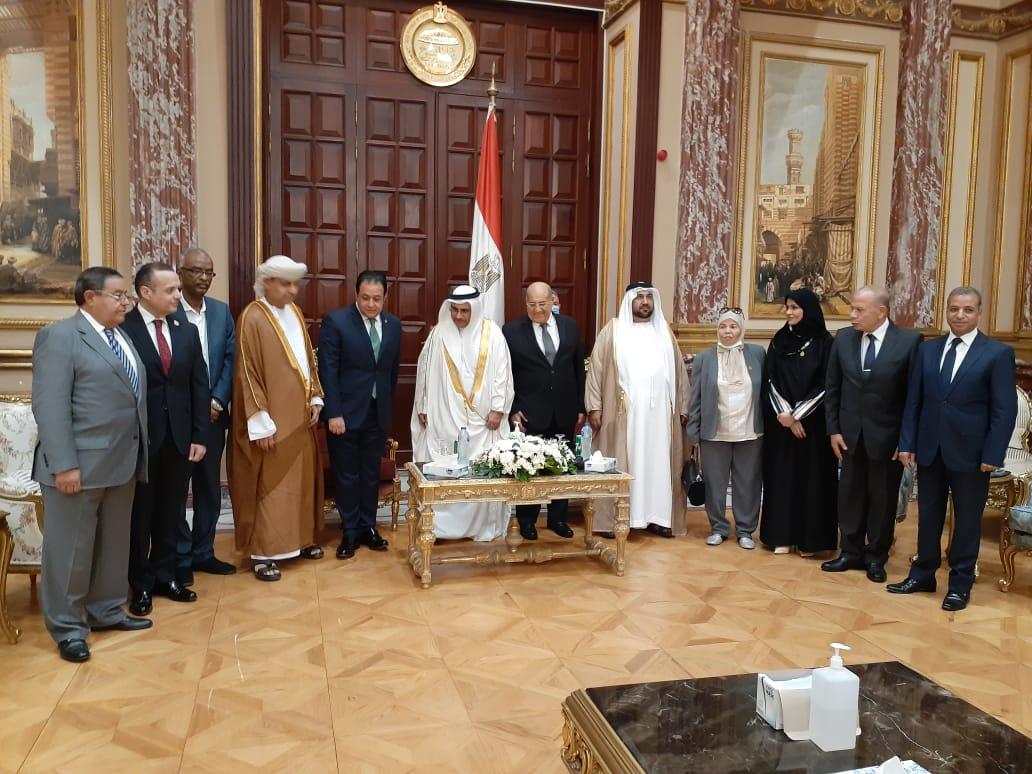 رئيس الشيوخ خلال لقائه برئيس البرلمان العربي