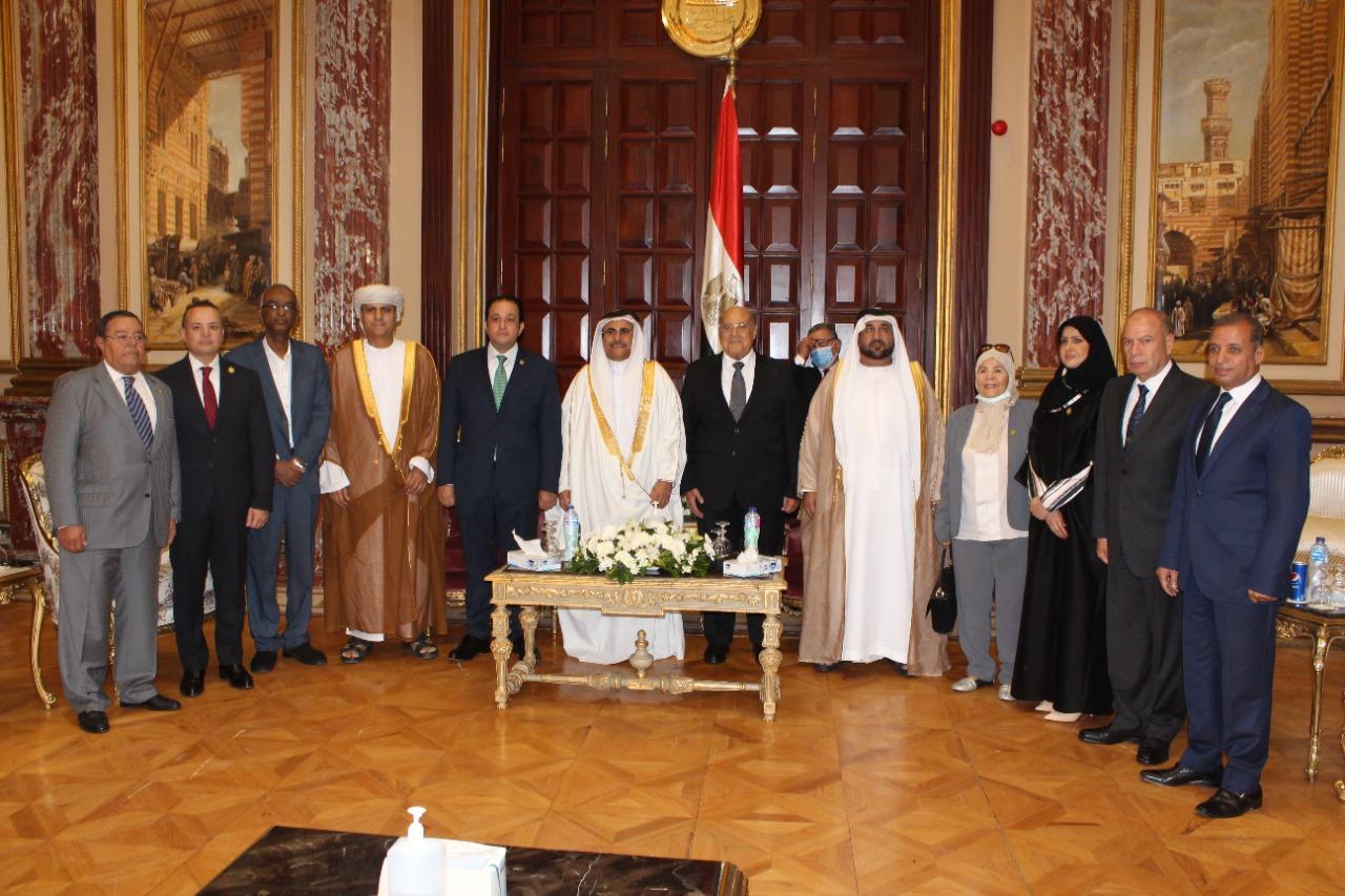 رئيس  مجلس الشيوخ  خلال لقائه برئيس البرلمان العربي