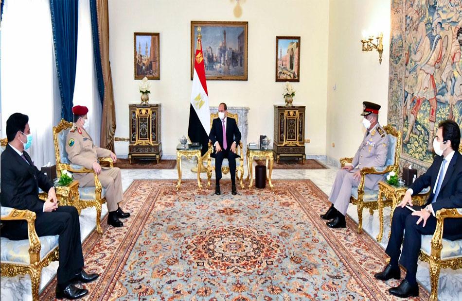 ;التعاون عسكري والأمني واحتواء الوضع في اليمن;  تتصدر لقاء الرئيس السيسي ووزير الدفاع اليمني