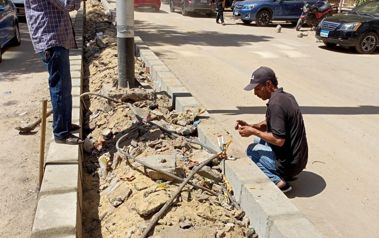 حي العجوزة يشن حملة لصيانة أعمدة الإنارة وتأسيس الكهرباء في حديقة ميدان لبنان |صور