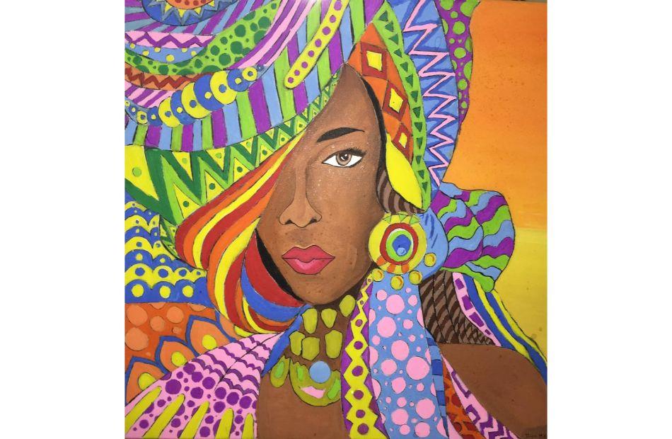 فنانًا يعرضون  لوحة في معرض ;إفريقيا أرض السلام; بمكتبة المستقبل | صور