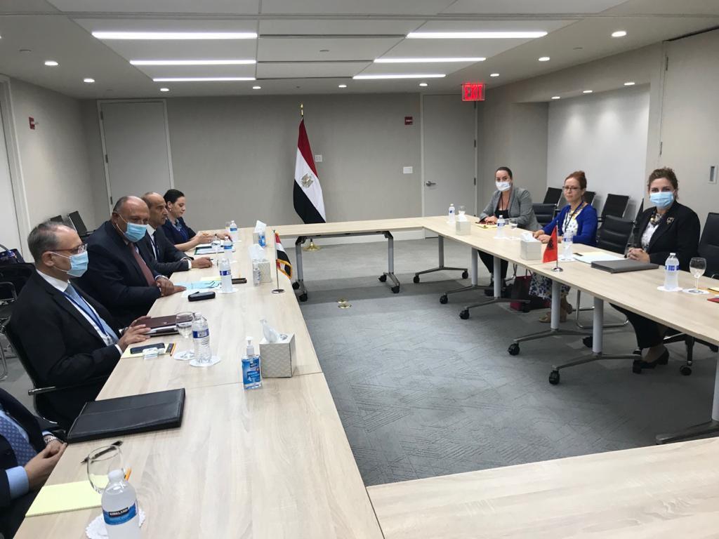 وزير الخارجية يبحث مع نظيرته الألبانية سُبل تعزيز التعاون الثنائي بين البلدين