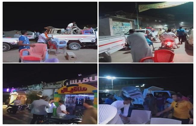مصادرة  حالة إشغال في حملة المقاهي والكافيهات بالعياط  صور