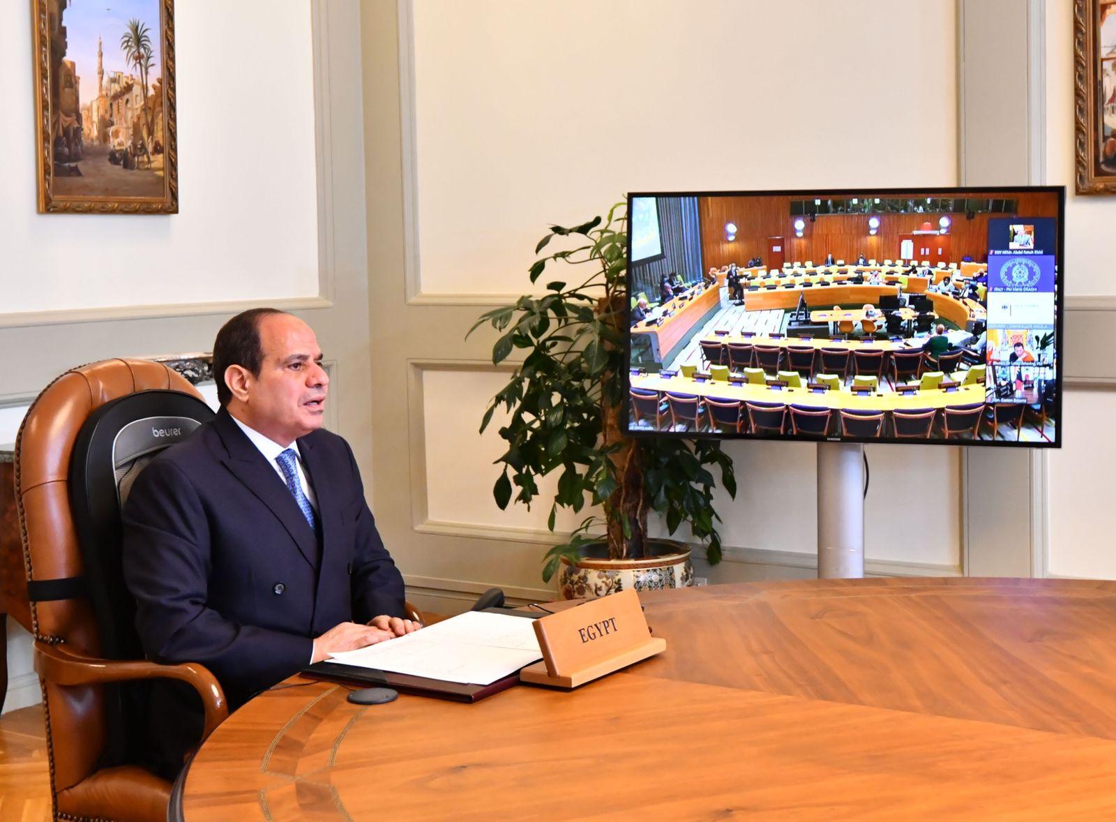 موقع الرئاسة ينشر فيديو لكلمة الرئيس السيسي باجتماع  رؤساء الدول والحكومات حول المناخ