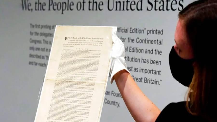 نسخة نادرة من الدستور الأمريكي تُعرَض بمزاد مقابل  مليون دولار