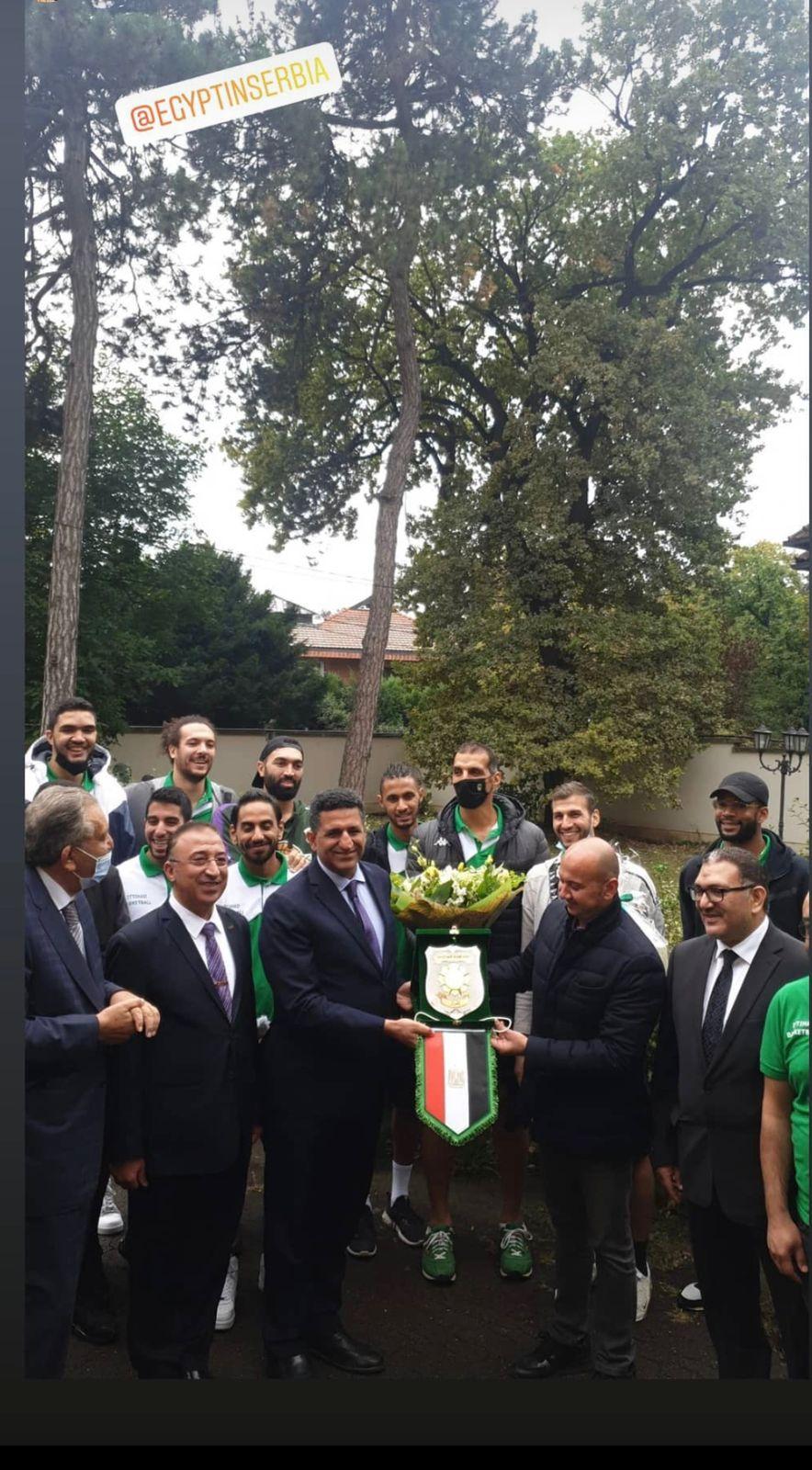 جانب من حفل سفير مصر في بلجراد عمرو الجويلى لاستقبال بعثة فريق سلة الاتحاد السكندري