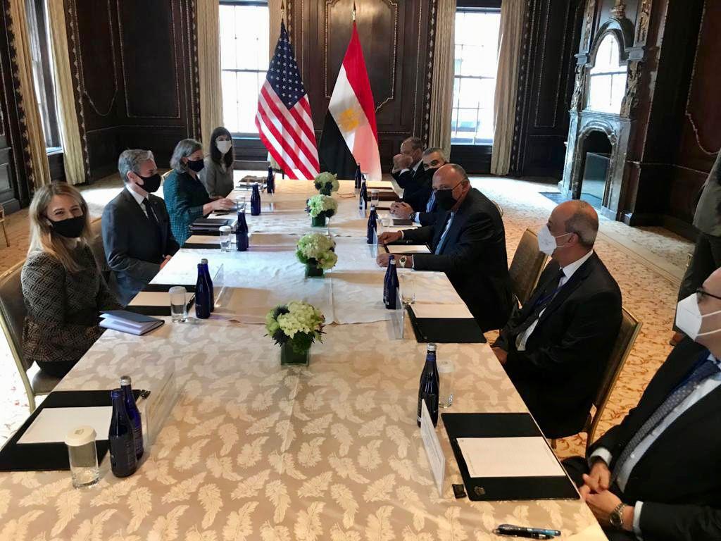 جانب من لقاء وزير الخارجية سامح شكري بوزير الخارجية الأمريكي أنتوني بلينكن