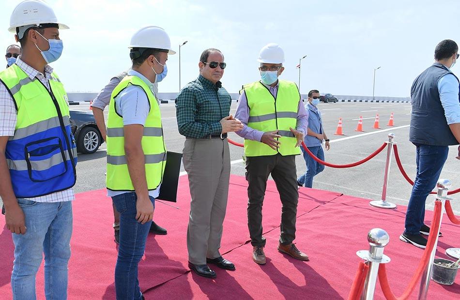 الرئيس السيسي يطلع على أعمال التطوير والصيانة الشاملة للقوس الشرقي للطريق الدائري
