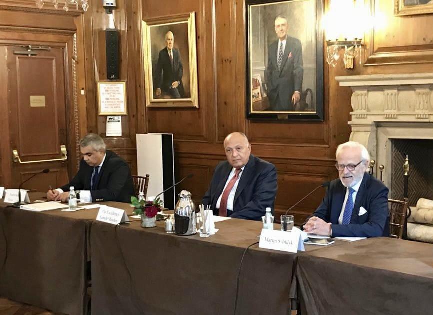 سامح شكرى  خلال جلسة بمجلس العلاقات الخارجية الأمريكي