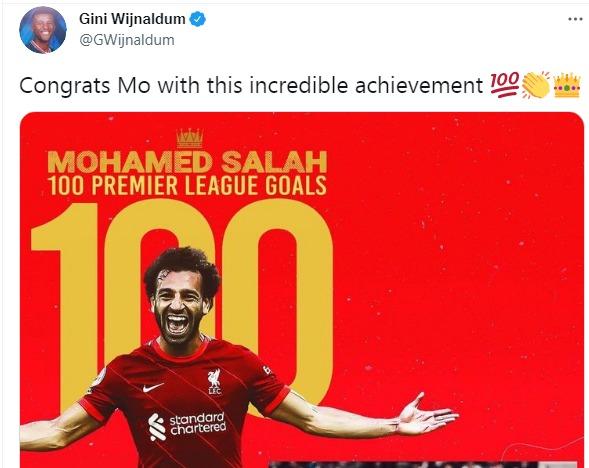 فينالدوم يهنئ محمد صلاح بعد تسجيله الهدف 100 مع ليفربول