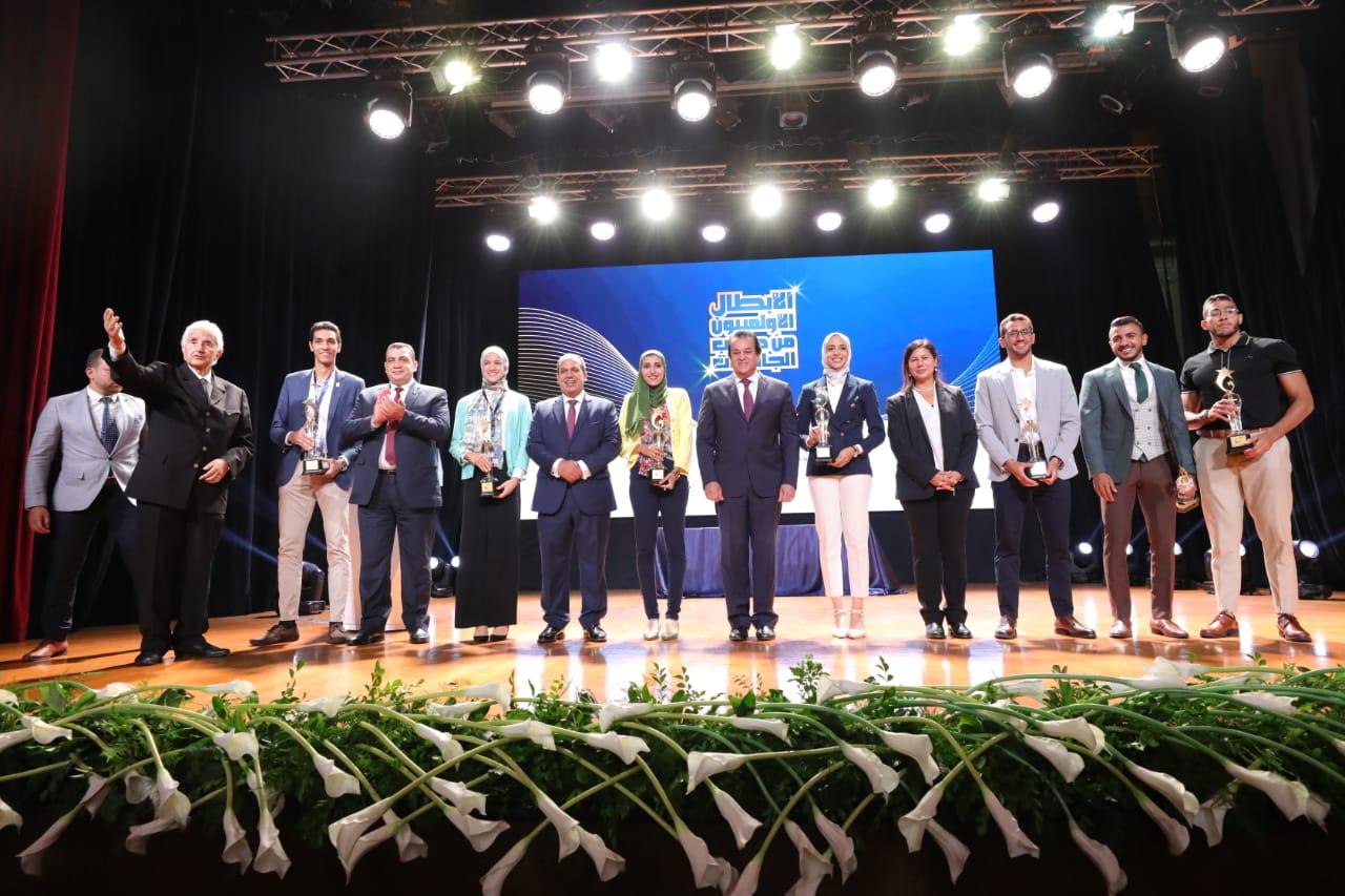 وزير التعليم العالي خلال فعاليات احتفالية تكريم أبطال طوكيو ٢٠٢٠