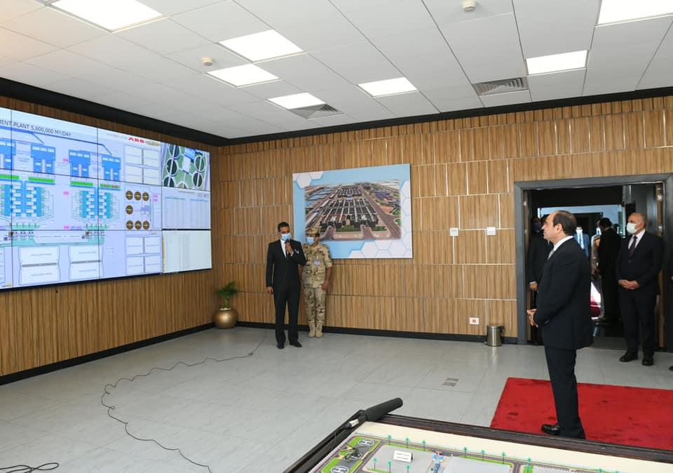 الرئيس السيسى خلال إفتتاح محطة معالجة مياه مصرف بحر البقر