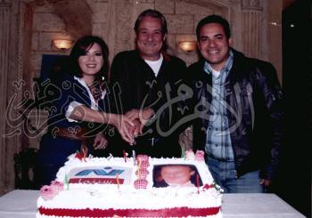 فاروق الفيشاوى خلال الاحتفال بعيد ميلاده .